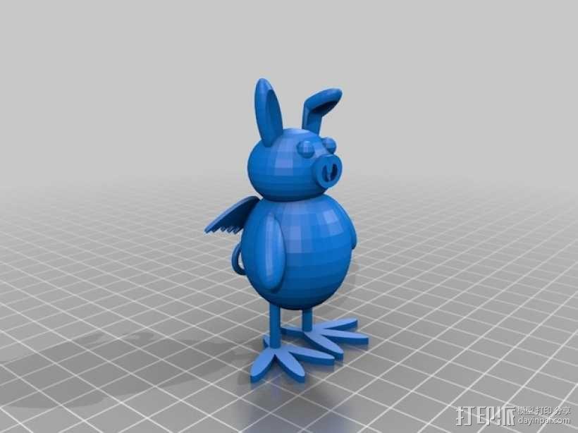 兔子猪 鸡 3D模型  图1