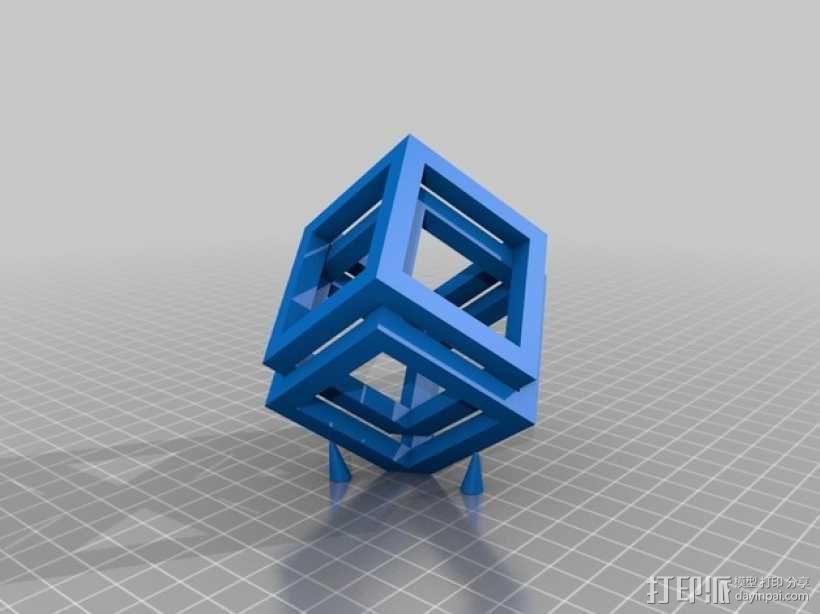 空心立方体摆件 3D模型  图1