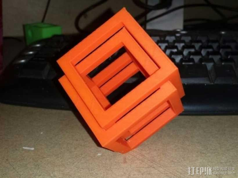 空心立方体摆件 3D模型  图3