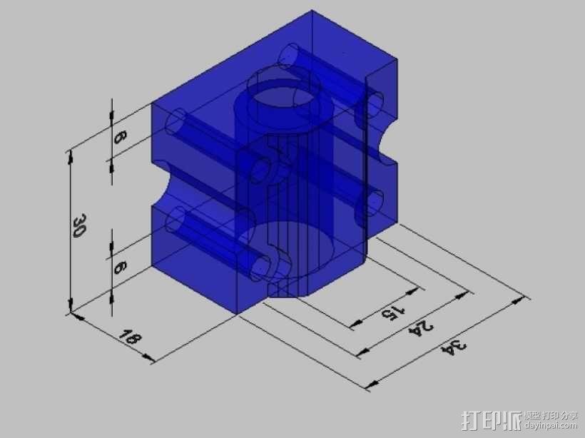 SC8UU滚珠轴承滑块 3D模型  图1