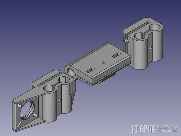 Prusa Mendel i2打印机的x-ends 3D模型  图1
