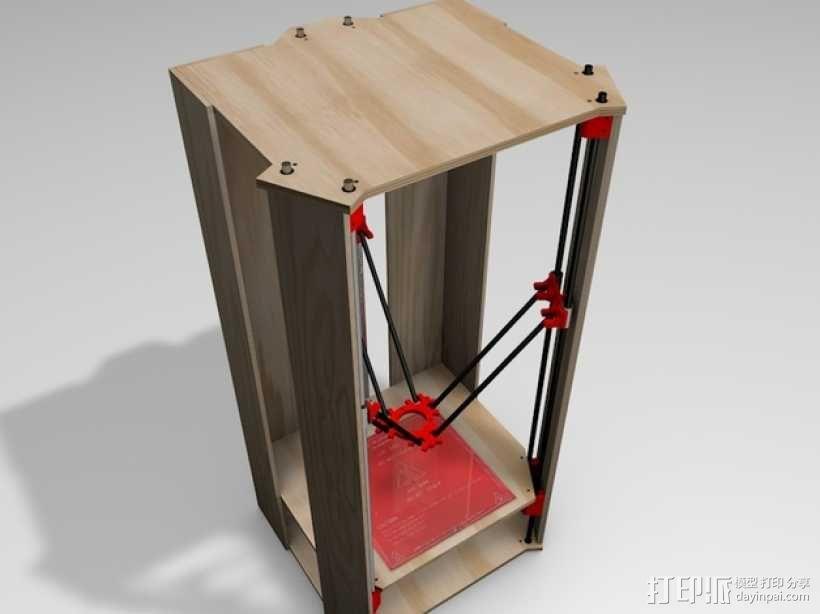 Rostock 打印机的木质框架 3D模型  图1