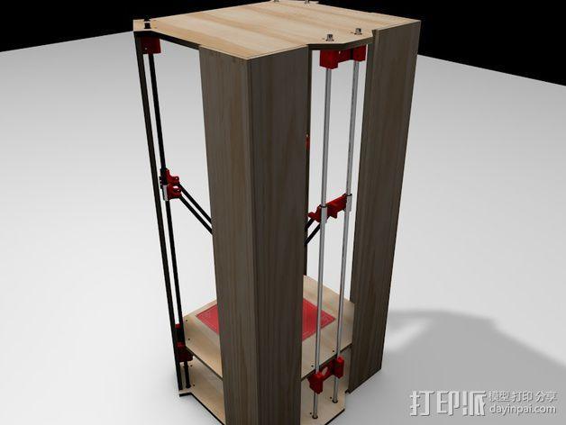 Rostock 打印机的木质框架 3D模型  图4