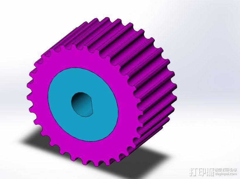 步进马达轴杆旋钮 3D模型  图1