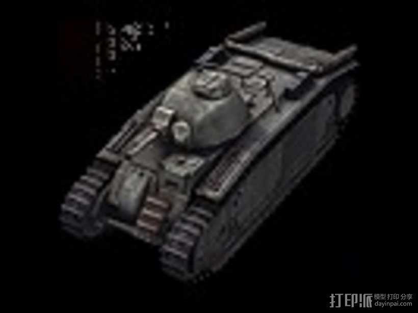 B1-bis重型坦克 3D模型  图1
