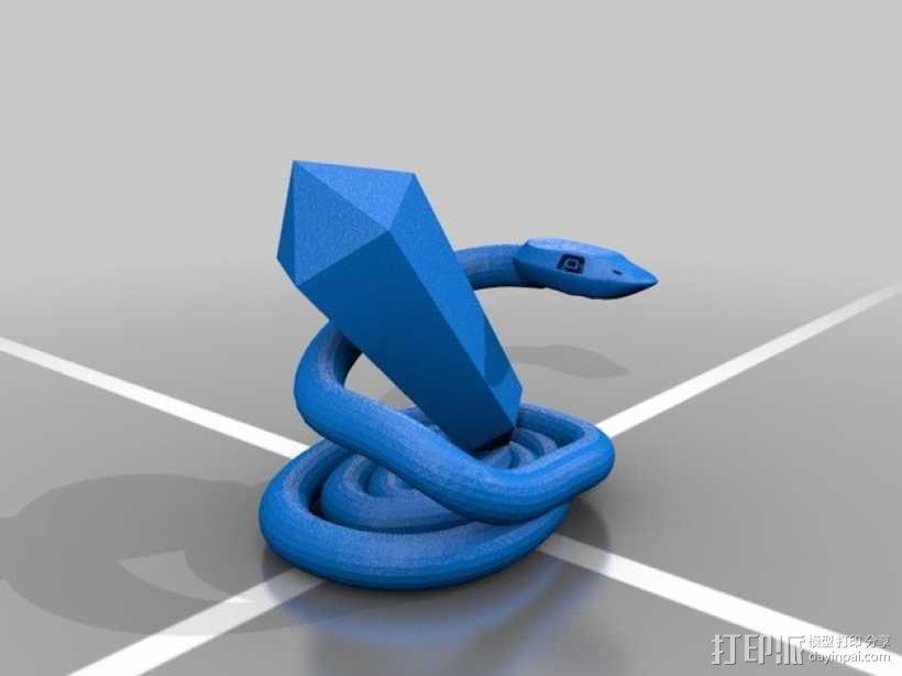 蛇和水晶 3D模型  图1