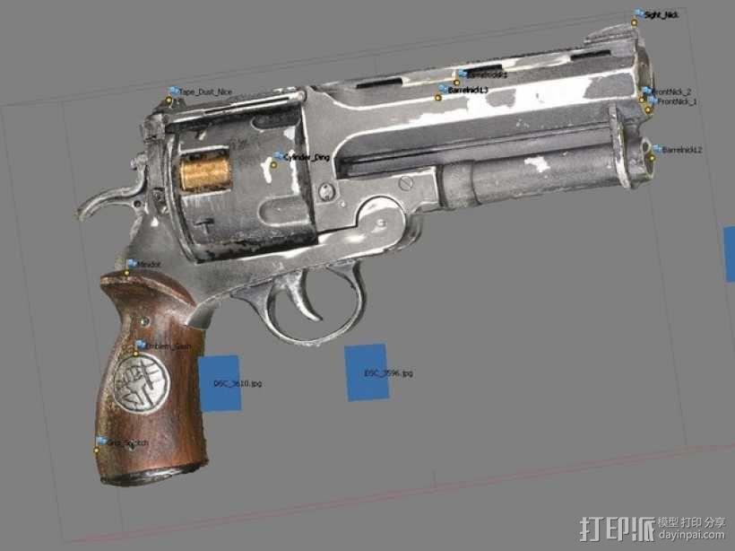 小型手枪摆件 3D模型  图1