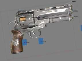 小型手枪摆件 3D模型