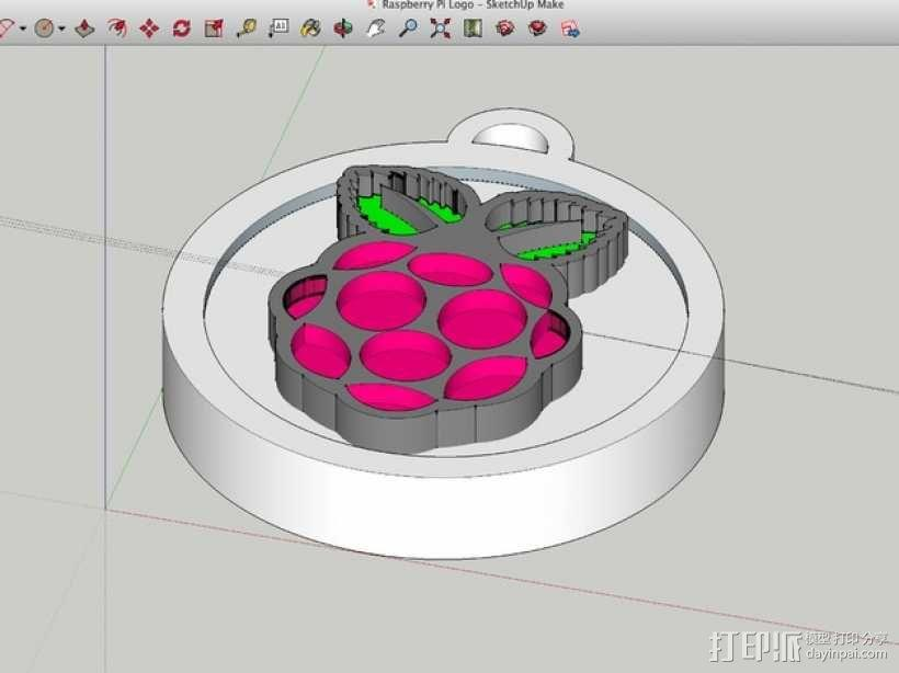 树莓派 标志 大奖章 3D模型  图4