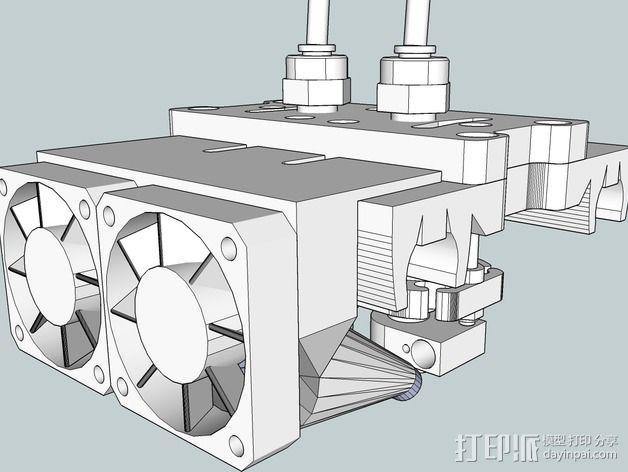 双风扇导管 3D模型  图4