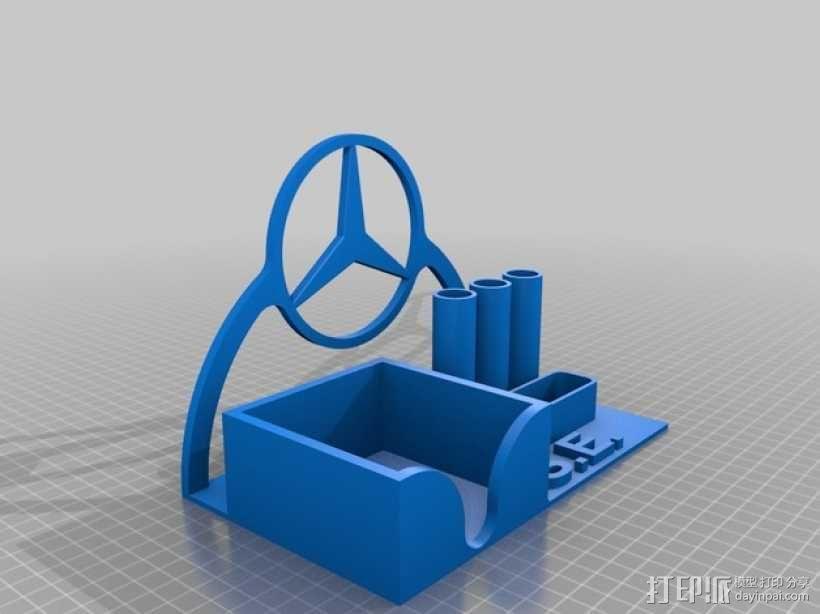 奔驰标志的笔架 3D模型  图1
