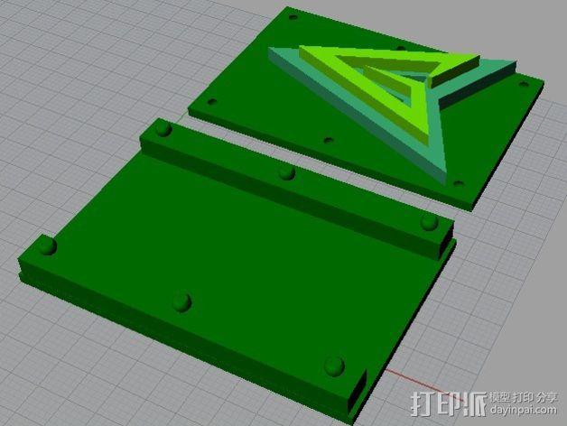 绿箭头皮带搭扣 3D模型  图2