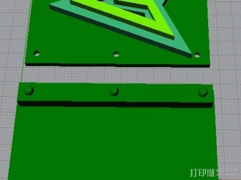 绿箭头皮带搭扣 3D模型  图1