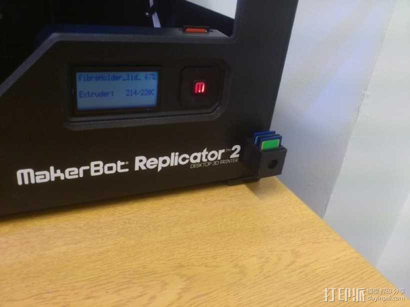 Makerbot Replicator 2打印机的SD卡收纳器 3D模型  图3