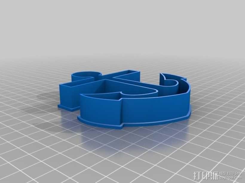 锚形饼干切割器 3D模型  图1