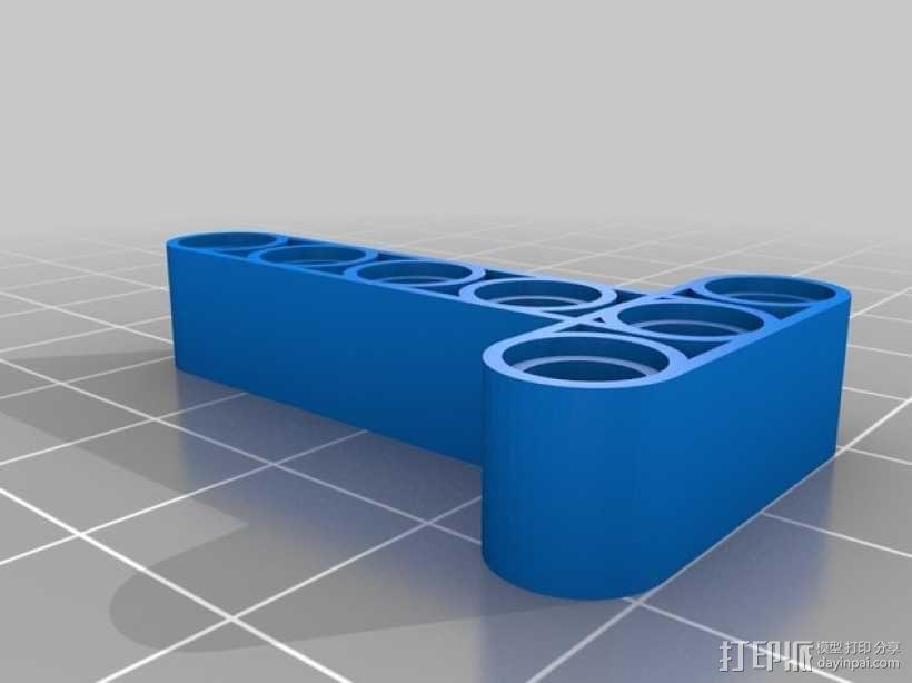 乐高T形适配器 3D模型  图1