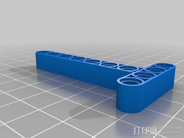 乐高T形适配器 3D模型  图2