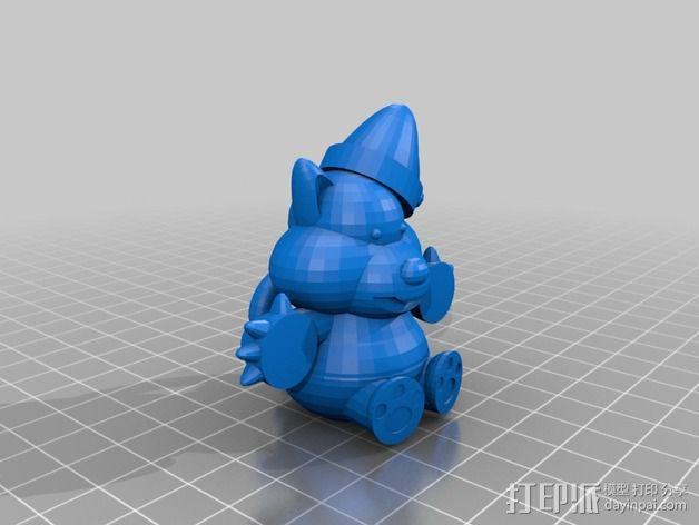 圣诞节老虎摆件 3D模型  图2