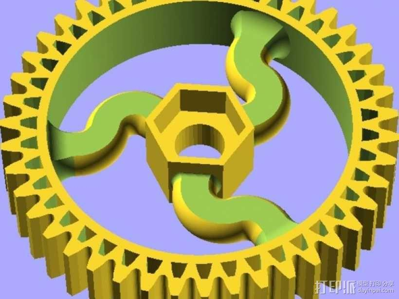 挤出器齿轮 3D模型  图4