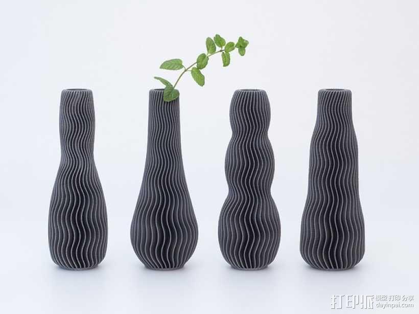 波纹形花瓶模型 3D模型  图1