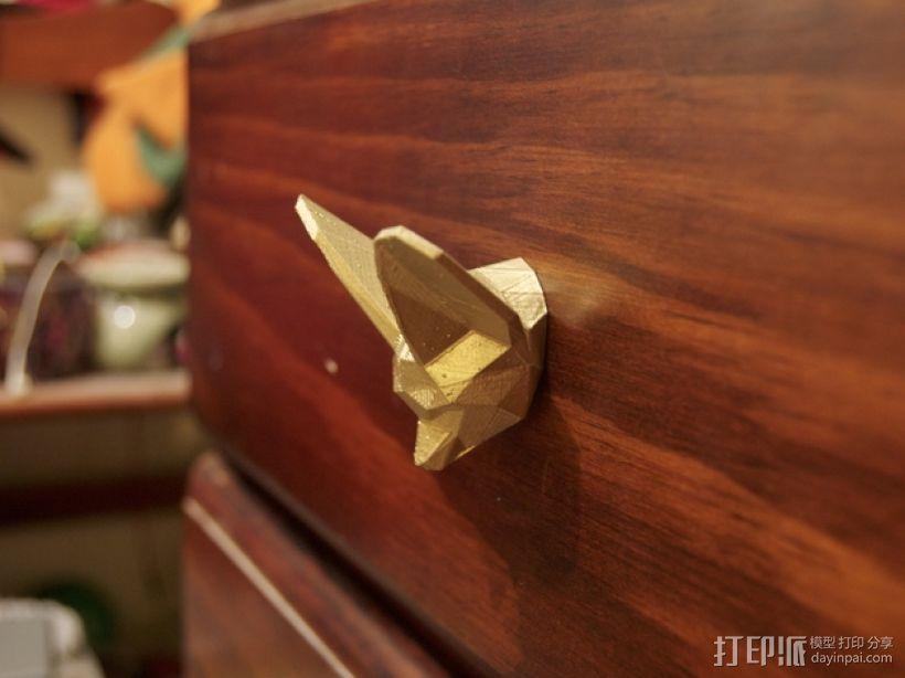 狐头形抽屉/橱柜把手 3D模型  图1