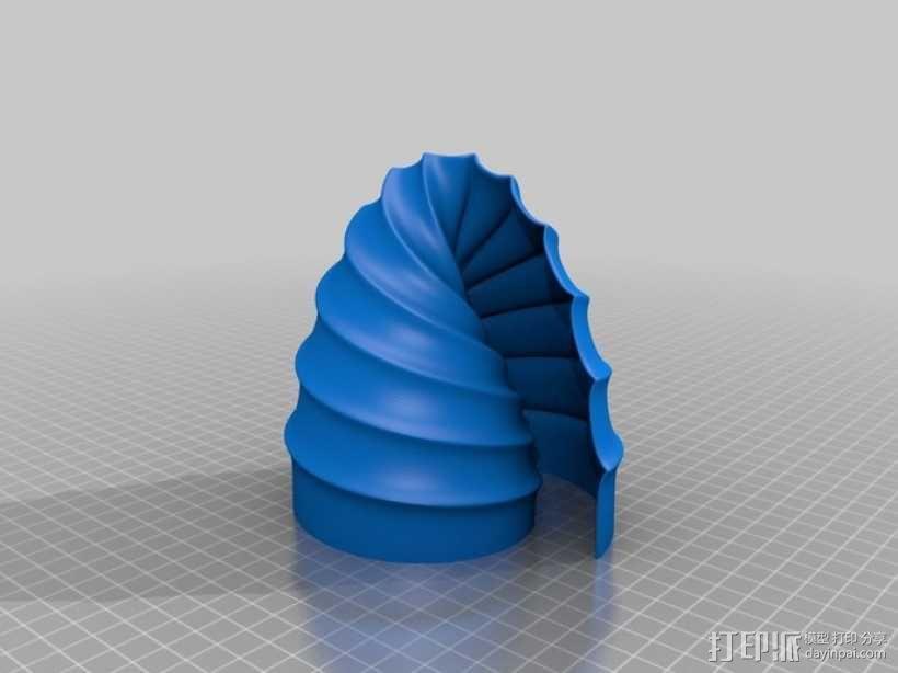 螺旋式双筒LED灯罩 3D模型  图3