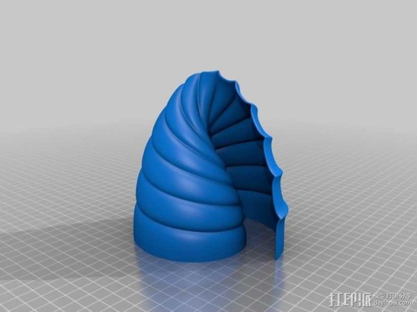 螺旋式双筒LED灯罩 3D模型  图5