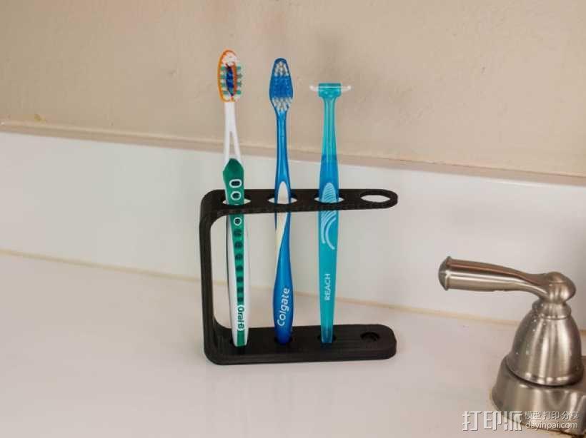 四孔牙刷架模型 3D模型  图3
