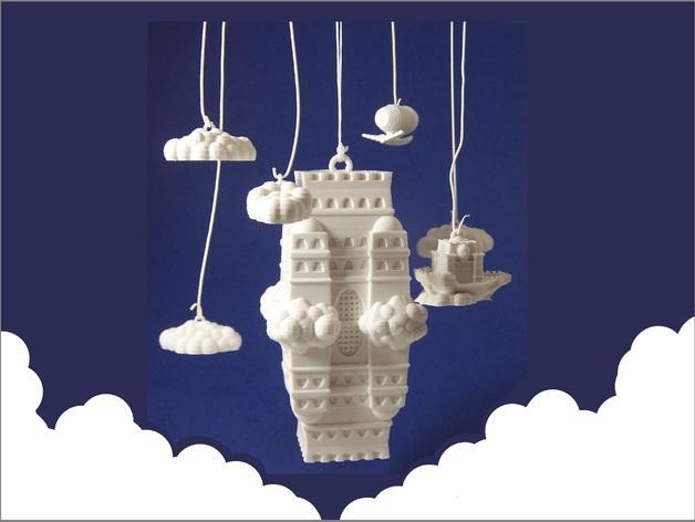 空中城堡装饰物模型 3D模型  图1