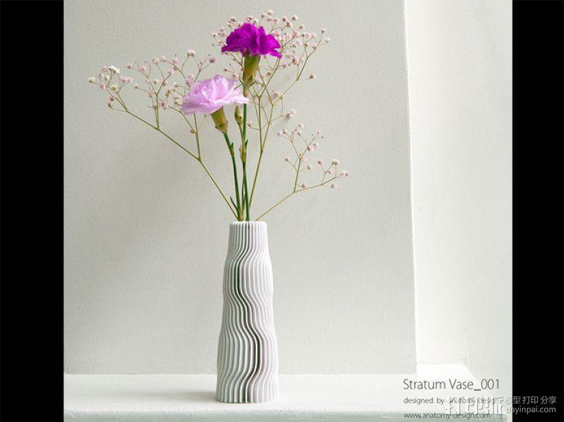 迷你波浪形花瓶模型001 3D模型  图1