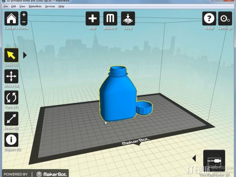 3D打印的瓶子瓶盖模型 3D模型  图4
