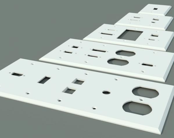 定制化壁装插座板 3D模型  图2