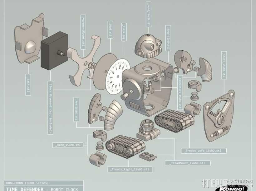 时间守护者:机器人时钟 3D模型  图11