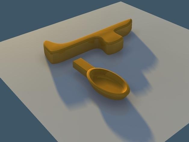 直角形汤匙模型 3D模型  图1