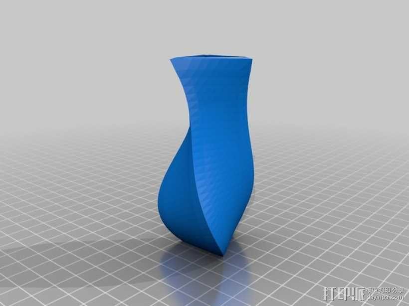 螺旋式三角形花瓶模型 3D模型  图2