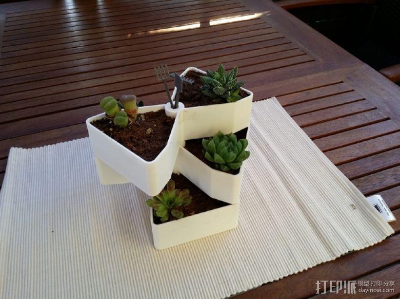 迷你多层花盆模型 3D模型  图1