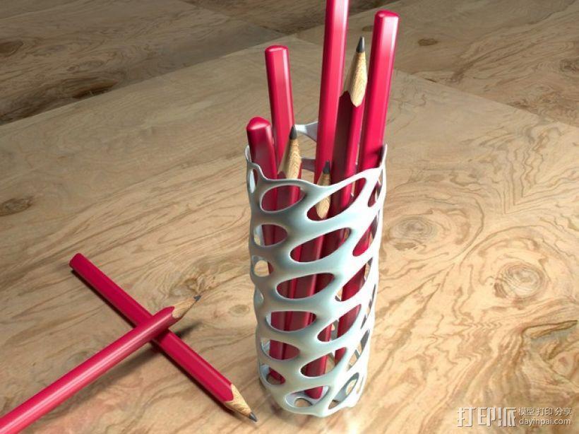 圆形镂空笔筒模型 3D模型  图2