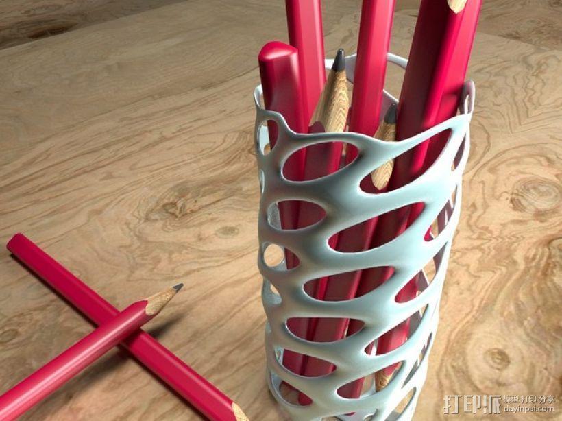 圆形镂空笔筒模型 3D模型  图1