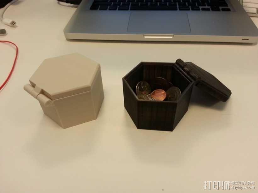 带盖的六边形盒子模型 3D模型  图1