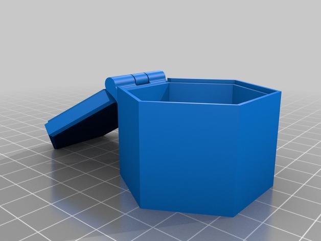 带盖的六边形盒子模型 3D模型  图2