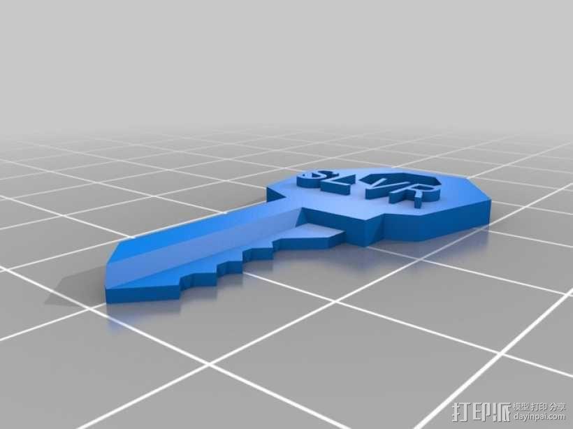 定制化房屋挂锁钥匙模型 3D模型  图2