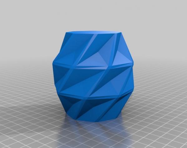 几何形橙色花瓶模型 3D模型  图2