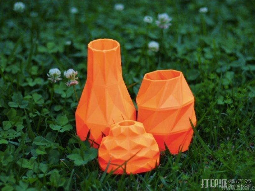 几何形橙色花瓶模型 3D模型  图1
