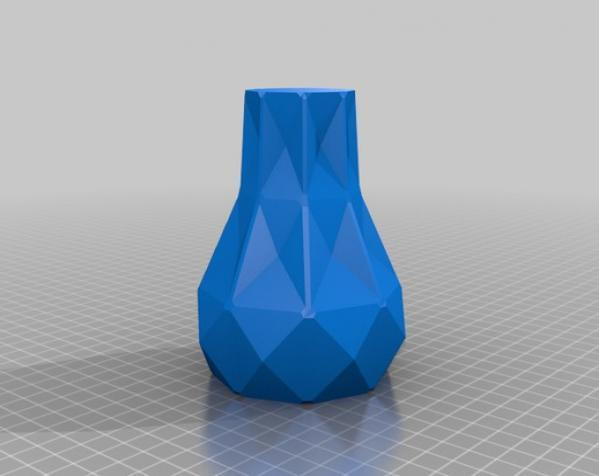 几何形橙色花瓶模型 3D模型  图3