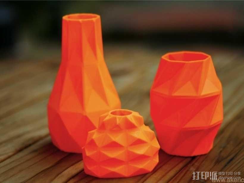 几何形橙色花瓶模型 3D模型  图8