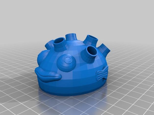 河豚笔筒模型 3D模型  图2