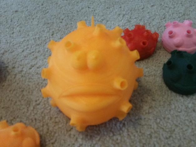 河豚笔筒模型 3D模型  图5