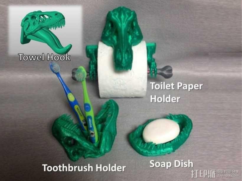 恐龙形浴室用品四件套 3D模型  图2