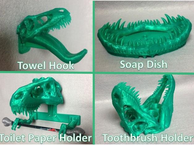 恐龙形浴室用品四件套 3D模型  图1