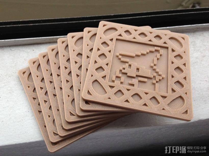 正方形游戏杯垫 3D模型  图1